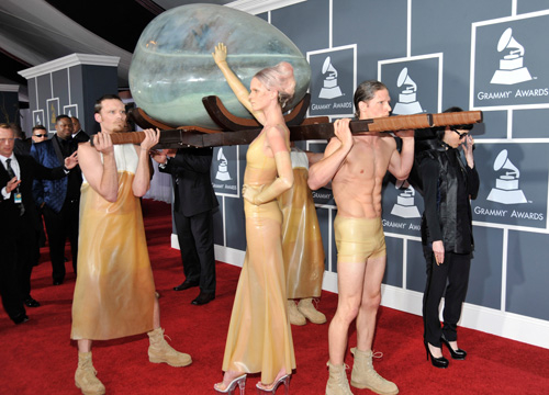 Best and Worst 2011 Grammy Fashion Moments - Lady Gaga lives to upstage pretty much everyone else on the 2011 Grammy red carpet. This year she upstaged her peers when she arrived in an egg in Cleopatra fashion. Gaga sets the standards as always!