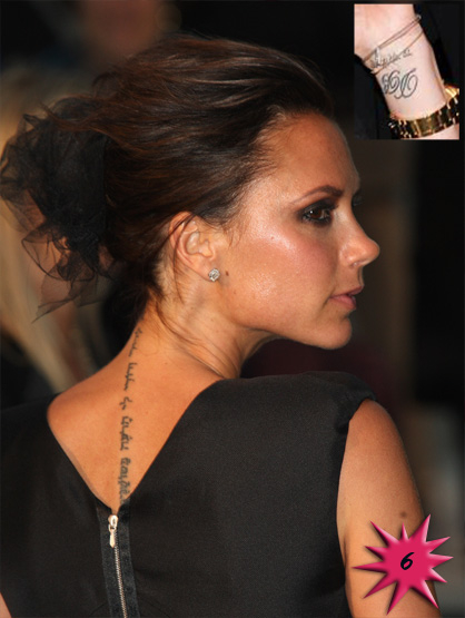 "Top 15 Hottest Tattooed Women - #6 Victoria Beckham: Number six brings us our favorite former ""Spice Girl."" Not known as the wildest of the bunch she now wears her ink badges proudly. She has the ""Song of Solomon"" a beautiful Hebrew poem on her back & her famous hubby's initials on her inner wrist."