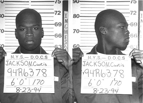Celebrity Mug Shots - 50 cent figured out in '03 that Manhattan is not in the old west, not cool to have unlicensed firearms there