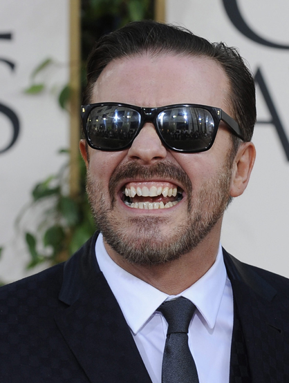 Faces and Places - 1.17.2012 Ricky Gervais on his arrival in the 68th delivery of the Golden Globes at the Beverly Hilton in Los Angeles.
