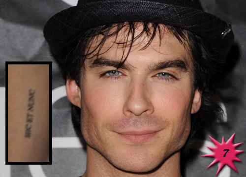 Top 15 Hottest Tattooed Men - #7 <b>Ian Somerhalder</b>: Simmer down ladies! This <i>Vampire Diaries</i> hottie may be known for his intense eyes, but he also sports a seriously cool design on his forearm. Somerhalders tattoo (insert) says Here and Now in Latin and it is a reminder that we each must live in the moment. Practical and esthetic!