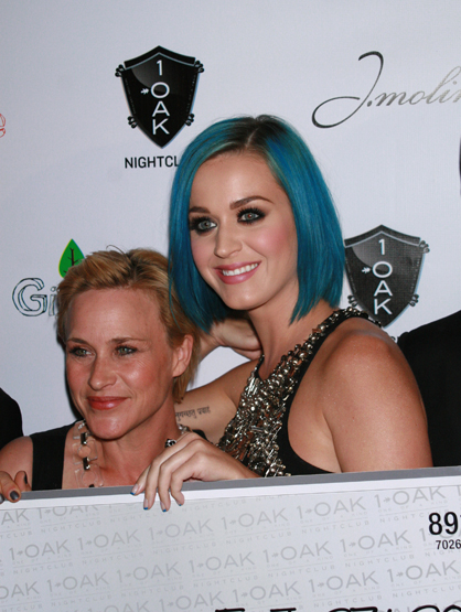 Faces and Places - 1.27.2012 Patricia Arquette and Katy Perry arrive at the Grand Opening Weekend and GiveLove Event, 1 OAK in Las Vegas.