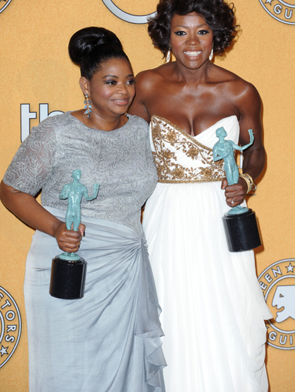 Faces and Places - 1.29.2012 Octavia Spencer and Viola Davis at the 18th Annual Screen Actors Guild Awards (SAG).