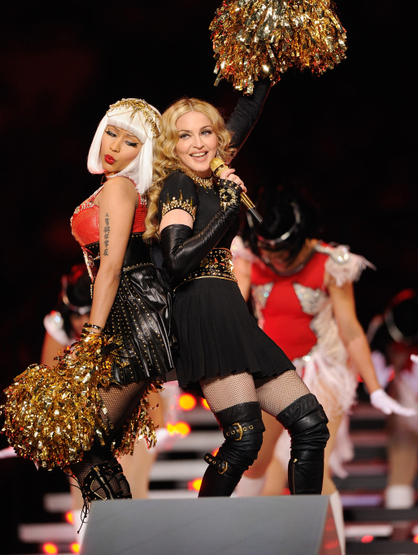 Madonna Super Bowl Halftime Show Extravaganza! - Nicki & Madonna take it back old school.