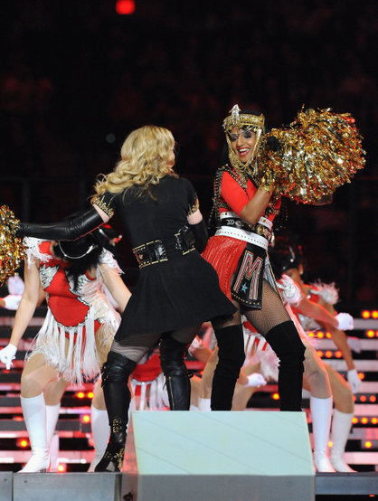 Madonna Super Bowl Halftime Show Extravaganza! - Madonna & MIA do the bump.