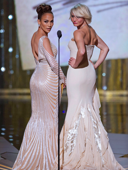 Faces and Places - 2.26.2012 Jennifer Lopez and Cameron Diaz at the 84th Academy Awards.