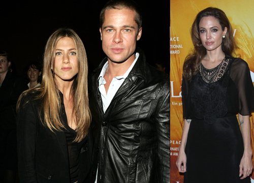 Celebrity Love Triangles - After meeting Angelina Jolie, Brad Pitt´s marriage to Jennifer Aniston ended.