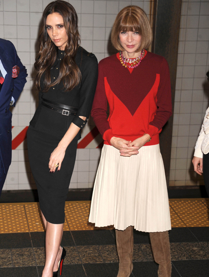 Faces and Places - 02.15.2012 Victoria Beckham and Anna Wintour at the launch of Britain''s 