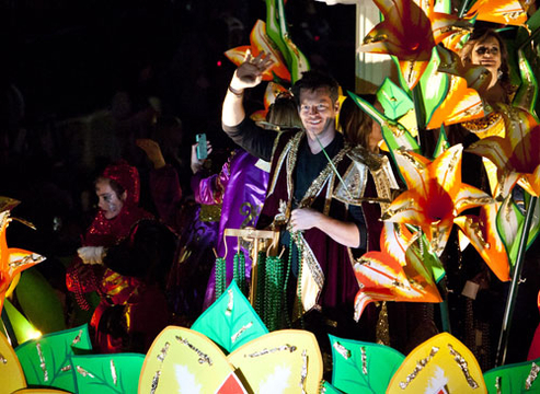 Mardi Gras 2012 - Krewe of Orpheus co-founder Harry Connick Jr. rides in the 2012 Krewe of Orpheus Parade in New Orleans, Louisiana.