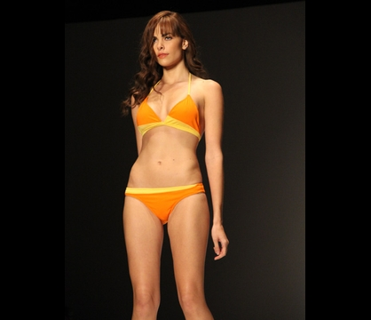 Fashion Show: Eugene Jones Swimwear - Orange and yellow bikini part of Eugene Jones's swimsuit collection