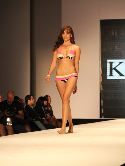 Fashion Show: Kanomi Swimwear - Pink, yellow and black patterned bikini part of the Kanomi Swimwear collection