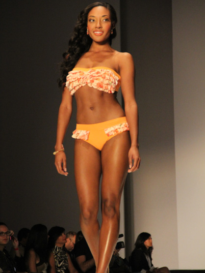 Fashion Show: Zella Machado - Frilly orange strapless bikini part of Zella Machado's swimsuit collection