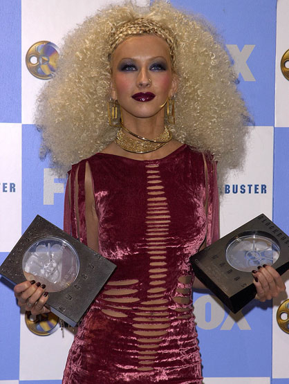 Worst Celebrity Fashion Mistakes - Christina Aguilera at the 2001 Blockbuster Music Awards
