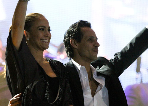 J.Lo and Marc: Through the Years - J.Lo and Marc Anthony wave to the crowd after Marc's concert in December 2010