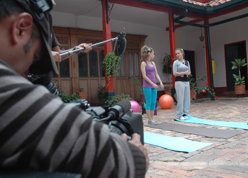 Behind the Scenes of Popland! - Sound check before filming some yoga.