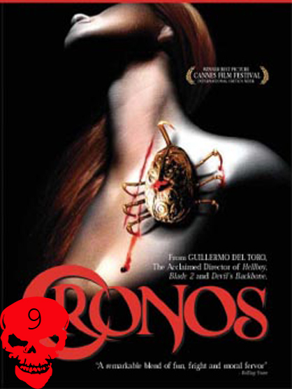 Top 10 Horror Films! - Cronos: Antiques dealer Jesus (Federico Luppi) struggles with an insatiable need for human blood after an ancient device attaches itself to his body. There is another man (Ron Perlman) who is set on retrieving the device. This is the directorial debut for Guillermo del Toro.