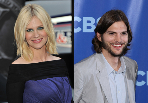 Hollywood's Weird Relationships - January Jones and Ashton Kutcher (Who hasn't this guy dated?)