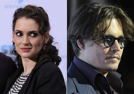 "Hollywood's Weird Relationships - Winona Ryder and Johnny Depp (he even got a tattoo that said ""Winona Forever"" which now says ""Wino Forever"""
