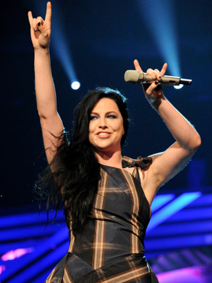 EMA 2011: Best Moments - Singer Amy Lee from Evanescence onstage during the MTV Europe Music Awards 2011 live show at the Odyssey Arena on November 6, 2011 in Belfast, Northern Ireland.