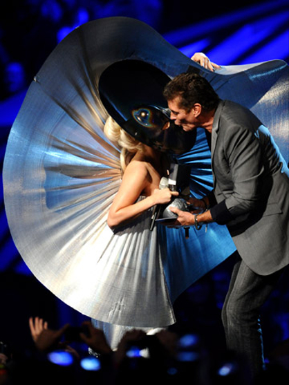 EMA 2011: Best Moments - Lady Gaga receives an award from David Hasselhoff during the MTV Europe Music Awards 2011 live show at the Odyssey Arena on November 6, 2011 in Belfast, Northern Ireland.