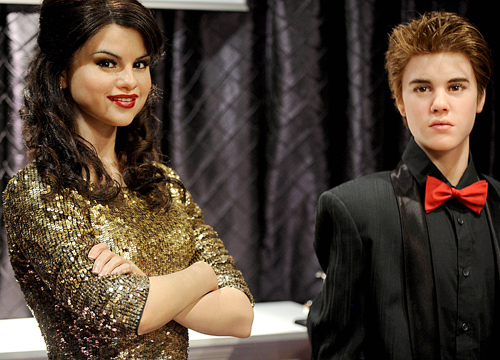 Faces and Places - 11.17.2011 Selena Gomez and Justin Bieber wax figures uveiled at Madame Tussauds Wax Museum. (NYC)