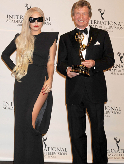Faces and Places - 11.21.2011 Lady Gaga and Nigel Lythgoe at the 39th International Emmy Awards. (NYC)