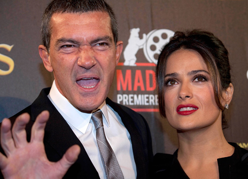 Faces and Places - 11.23.2011 Antonio Banderas and Salma Hayek at the premiere of 