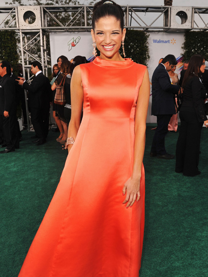 The Best and Worst Dressed at the 2011 Latin Grammy Awards - Natalia Jimenez wore a 50s style coral vintage dress, makeup and hair `a la Audrey Hepburn. She looked absolutely stunning. One of the most put-together outfits of the night.