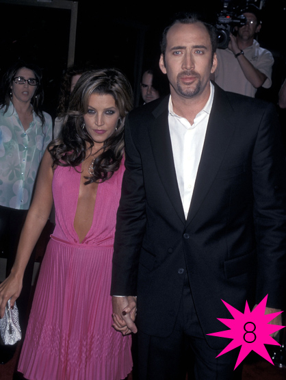 Top Shortest Celebrity Marriages - Nicolas Cage and Lisa Marie Presley made it 3 months before things went down. Rumors flew that Nick had an obsession with Elvis and wanted to mix his genes with the King and Lisa wasn't on board.