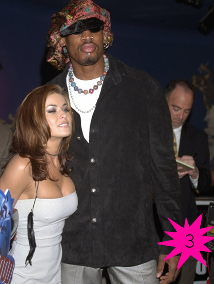 Top Shortest Celebrity Marriages - Dennis Rodman and Carmen Electra were hitched for 9 days before things fell apart between the Playboy Bunny and the off beat former basketball player.