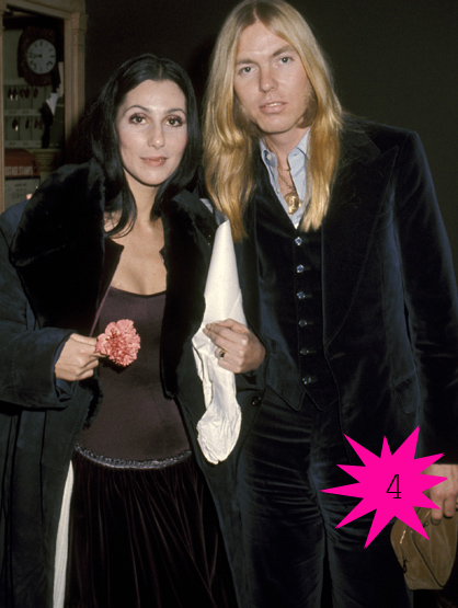 Top Shortest Celebrity Marriages - Cher and Gregg Allman were married for 9 days before the musicians split. (Cher wed Gregg just THREE days after her divorce with Sonny Bono)