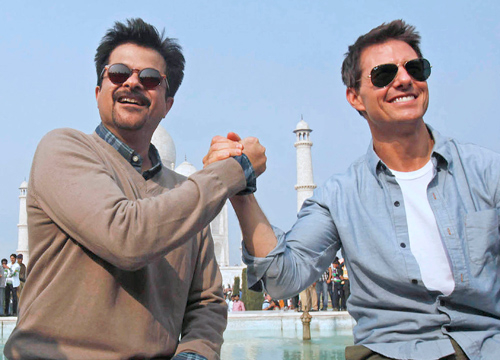Faces and Places - 12.02.2011 Tom Cruise and Bollywood Actor, Anil Kapoor, at the Taj Mahal. (India)