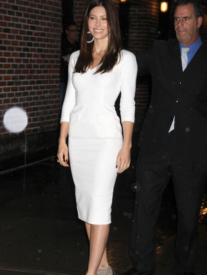 Faces and Places - 12.07.2011 Jessica Biel at 'Late Show with David Letterman' in New York City.
