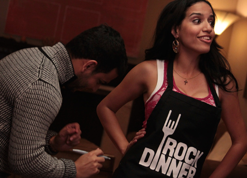 Rock Dinner: Tito El Bambino - Tito signs our aprons!