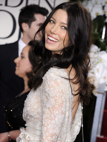 Faces and Places - 1.15.2012 Jessica Biel arrives at the ceremony of the 69th edition of the Golden Globes.