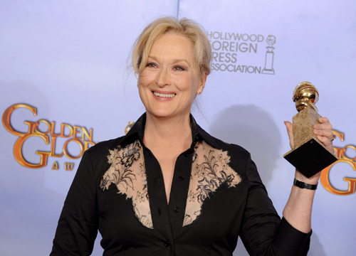 Faces and Places - 1.15.2012 Meryl Streep poses with her award for best dramatic actress for her role in
