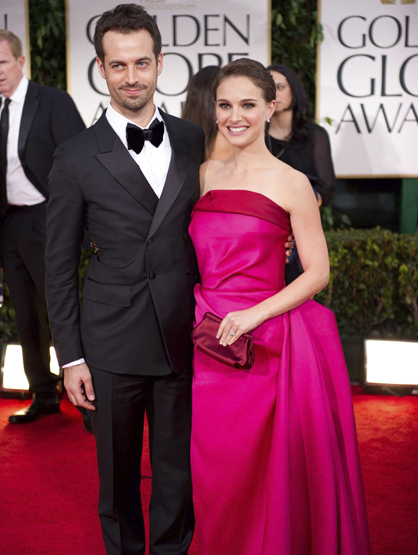 Faces and Places - 1.15.2012 Natalie Portman with her partner, the French dancer Benjamin Millepied, on arrival at the ceremony of the 69th edition of the Golden Globes.
