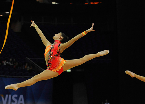 Faces and Places - 1.17.2012 The Spanish team competes during the rhythmic gymnastics pre-Olympic tournament which takes place in London.