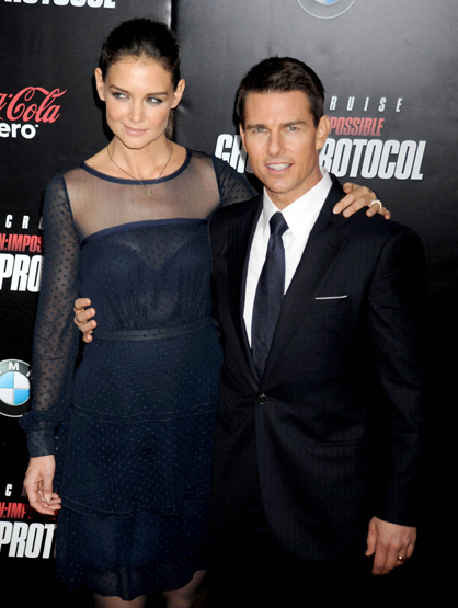 Faces and Places - 12.19.2011 Katie Holmes and Tom Cruise at the premiere of 