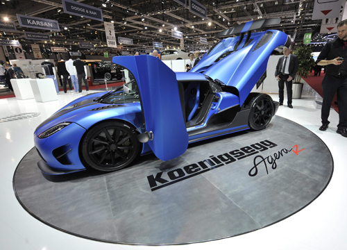 Faces and Places - 3.6.2012 The new 2013 Koenigsegg Agera R during his presentation to the media at the 82nd edition of the International Motor Show Geneva, Switzerland.