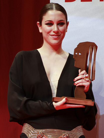 Faces and Places - 03.12.2012 Blanca Suarez, after receiving the award for