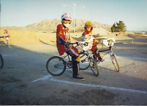 Ricardo Laguna: Family Album - Ricardo and Angel at Nellis BMX Track in 1996.