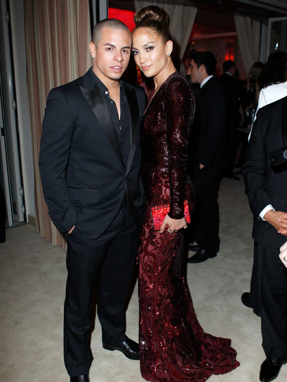 Jennifer Lopez: Through the Years - Jennifer Lopez with Casper Smart at the 2012 Vanity Fair Oscar Party!