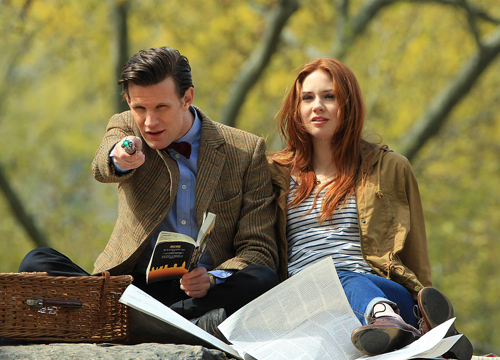 Faces and Places - 04.11.2012 Matt Smith, Karen Gillan and Arthur Darvill on location for 'Dr. Who' in Central Park, NY.