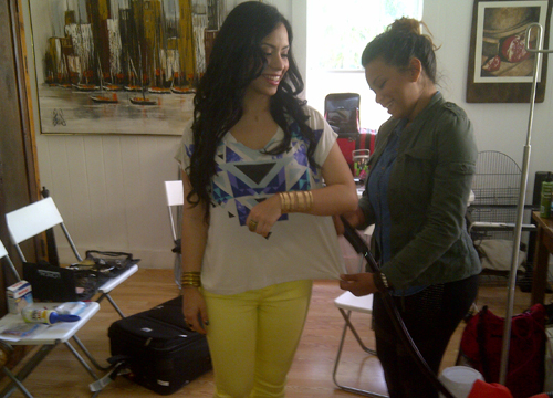 Behind the Scenes of De Nuevo! - Putting the final touches on Eli's outfit for the shoot!