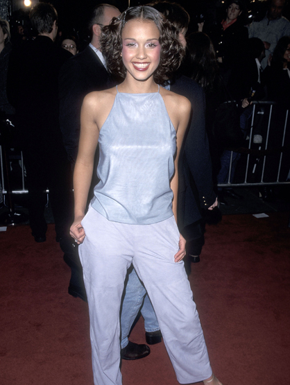 Before They Had Style - Everything about this outfit is just wrong! Jessica Alba, we're glad you would never wear this outfit again!