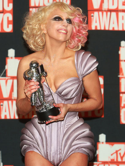 Most Memorable VMA outfits - Lady GaGa poses in the press room at the 2009 MTV Video Music Awards at Radio City Music Hall on September 13, 2009 in New York City.