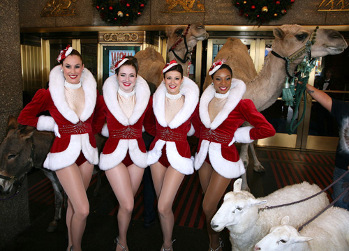 Celebrities Celebrate - The Rockettes escort the animals of the '2010 Radio City Christmas Spectacular' at Radio City Music Hall on October 26, 2010 in New York City.