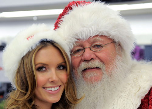Celebrities Celebrate - Audrina Patridge and Santa Claus celebrate the holidays at Kmart with St. Jude Children's Research Hospital at Kmart on December 1, 2010 in Burbank, California.